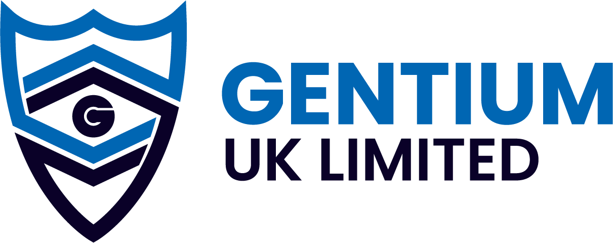 Blue and Purple Shield Gentium UK Logo